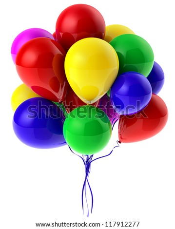 Flying bunch of balloons with helium for party