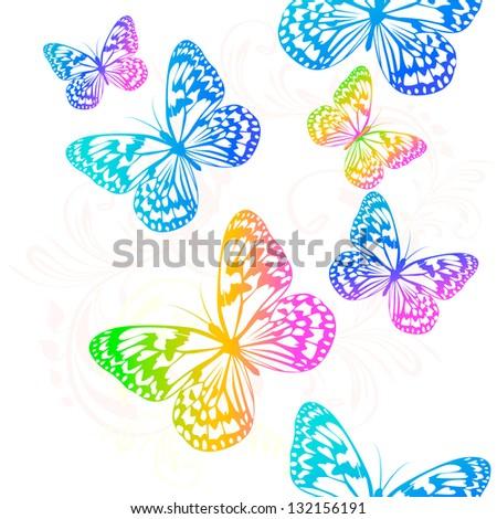 Flying butterflies. Raster - stock photo