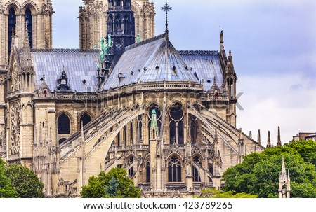 Flying Buttresses Spires Towers Overcast Skies Notre Dame Cathedral Paris France Was Built