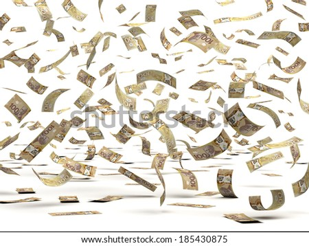 Flying Canadian Dollars (isolated with clipping path) - stock photo