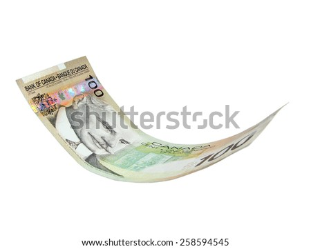 Flying Canadian money note, isolated for montage, (manual focus) - stock photo