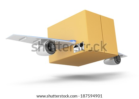 Flying cardboard box isolated on white background. Quick delivery concept. 3d rendering illustration