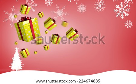 Flying christmas presents against fir tree silhouette over red