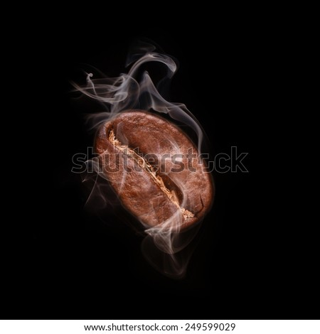Flying coffee bean in smoke - stock photo