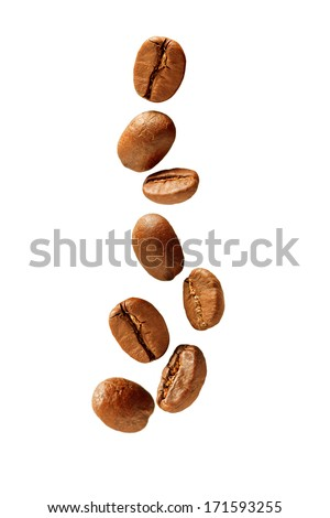 Flying coffee beans - stock photo