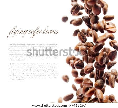 Flying coffee beans. Falling coffee beans isolated over white with sample text. Cafe menu or brochure template. Natural lens blur with small depth of field. - stock photo