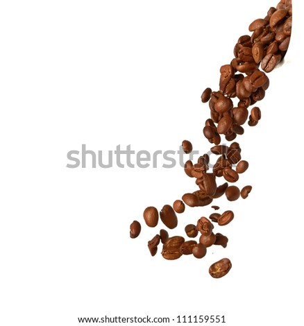 Flying coffee beans isolated on a white background - stock photo
