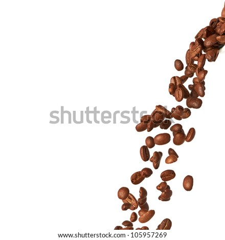 Flying coffee beans isolated on white background - stock photo