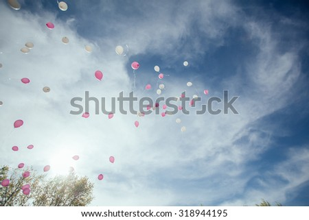 Flying Colorful Balloons - stock photo