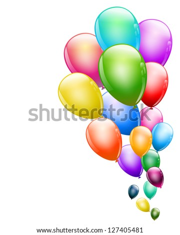 flying colorful glossy balloons