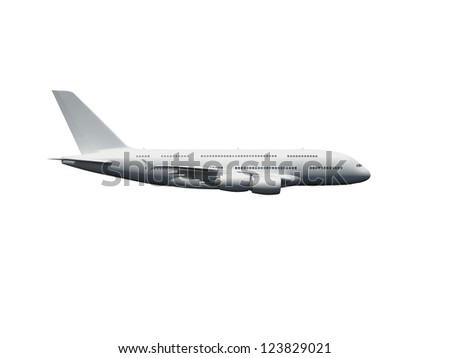 Flying commercial airplane against blue cloudy sky, top view.