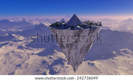 Flying conical island with pine trees on a background of snow-capped mountains - stock photo