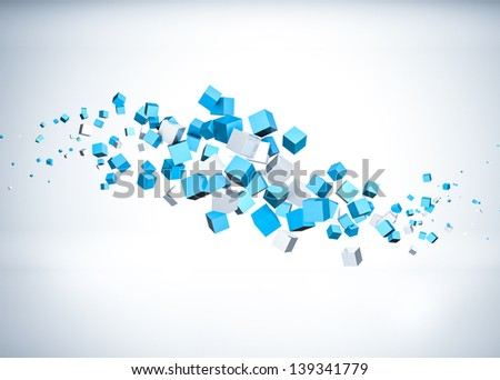 Flying cubes - stock photo