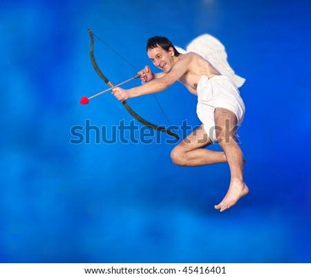 Flying Cupid - stock photo
