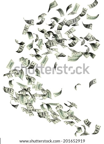 Flying dollar banknotes . Isolated on white background - stock photo