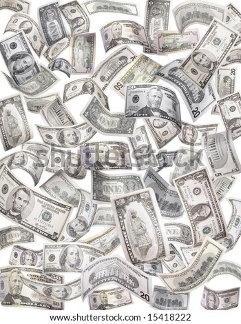 Flying dollars background - stock photo