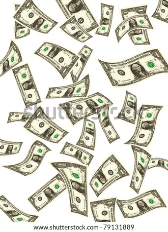 Flying dollars banknotes on white background