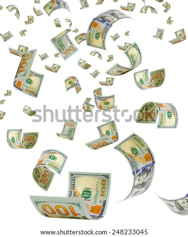 Flying dollars on a white background. - stock photo