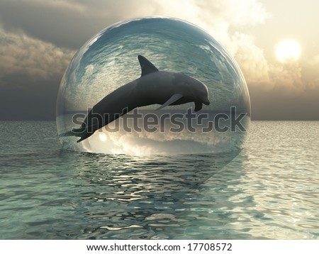 Flying Dolphin in Glass Globe