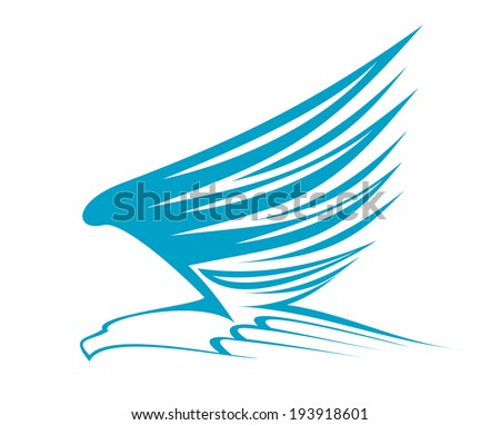 Flying eagle for emblem or mascot design. Vector version also available in gallery - stock photo