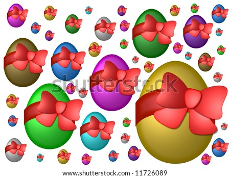 flying easter eggs - stock photo