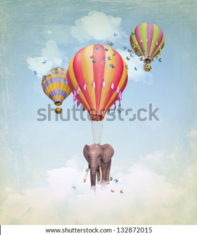 Flying Elephant in the sky with balloons. Illustration - stock photo