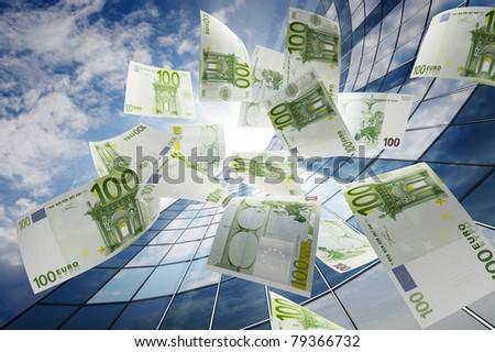 Flying euro - stock photo