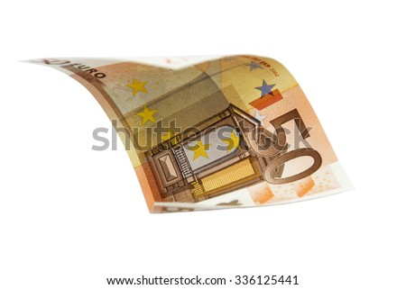Flying Euro bank note over white background as montage element