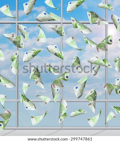 flying 100 euro banknote in office, close up - stock photo