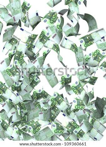 Flying euro banknotes. Isolated over white