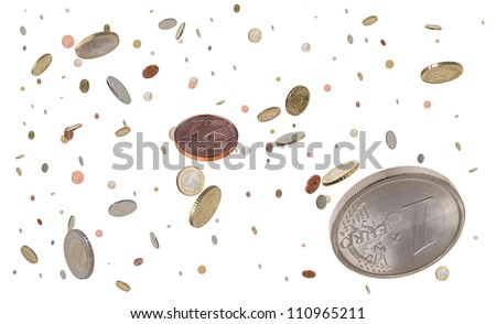 Flying euro coins money rain - stock photo