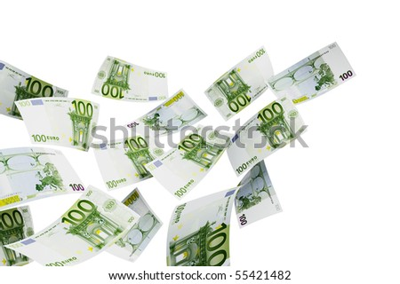 Flying euro on a white background