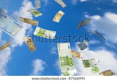 Flying euros - stock photo