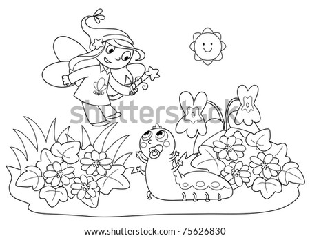 Flying fairy with cute baby caterpillar in the grass. Cartoon coloring illustration for children. - stock photo