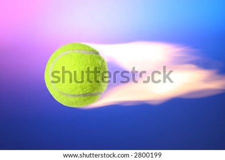 Flying Fire Tennis Ball - stock photo