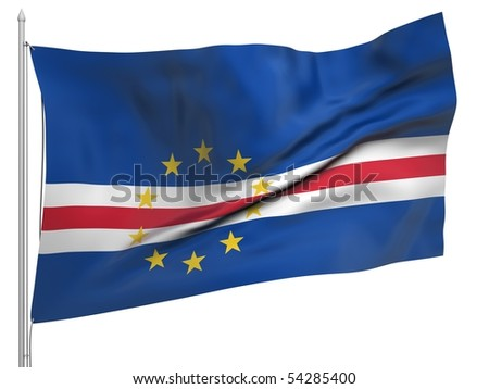 Flying Flag of Cape Verde - All Countries Collection.