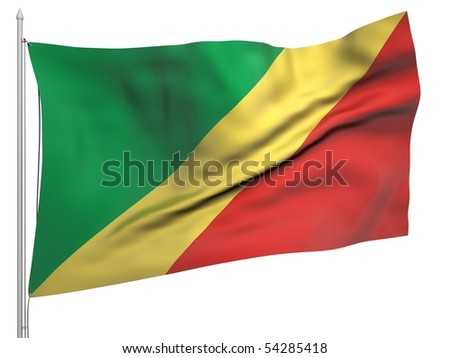 Flying Flag of Congo Republic - All Countries Collection.