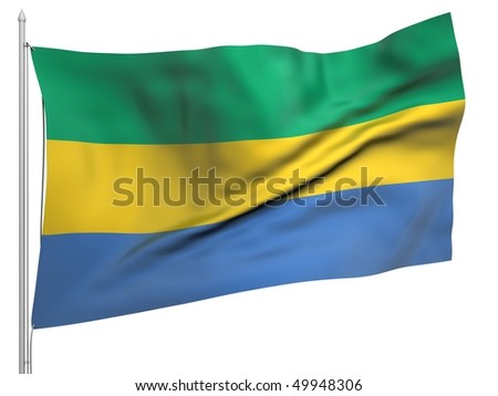 Flying Flag of Gabon - All Countries Collection. To view full set - search ?38flagstaff?