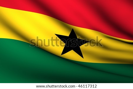 Flying Flag of Ghana   All Countries Collection   - stock photo
