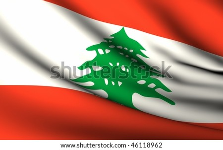 Flying Flag of Lebanon   All Countries Collection   - stock photo