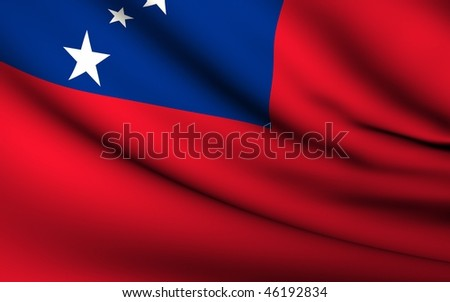 Flying Flag of Samoa | All Countries Collection |