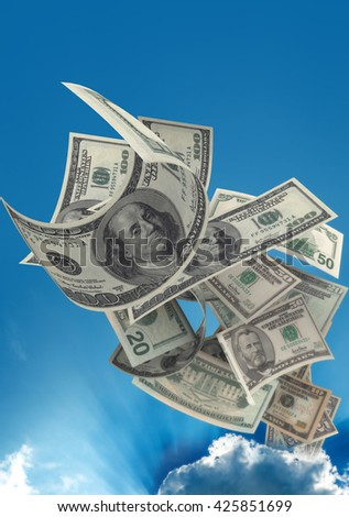 Flying $100, $50, $20 from front and back like real one from sky. High resolution, sharp 3D rendering along with silver lining - stock photo