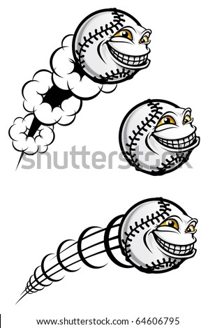 Flying funny baseball ball isolated on white - also as emblem. Vector version also available in gallery - stock photo