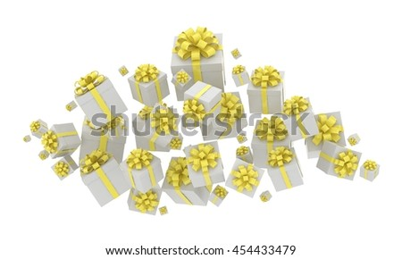 flying gift boxes on white. 3d rendering. - stock photo