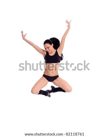 Flying gymnast isolated on white - stock photo