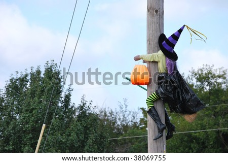 Flying Halloween Witch Hits Telephone Pole - stock photo