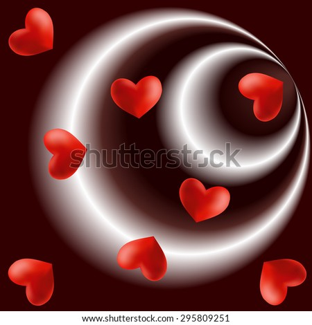 Flying hearts on the radial chocolate brown white background - stock photo