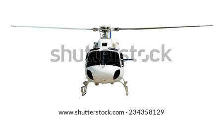 Flying helicopter with working propeller, isolated on white - stock photo