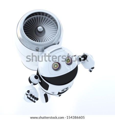 Flying hero robot. Technology concept. Isolated over white background - stock photo