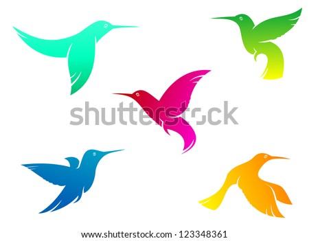 Flying hummingbirds set with color plumage isolated on white background, such a logo template. Vector version also available in gallery